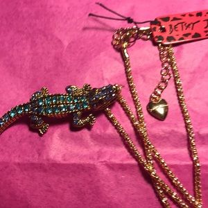Betsey Johnson crocodile/alligator necklace/broach